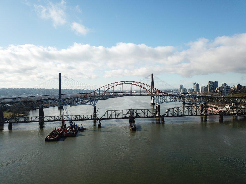 in-river work by the Pattullo Bridge